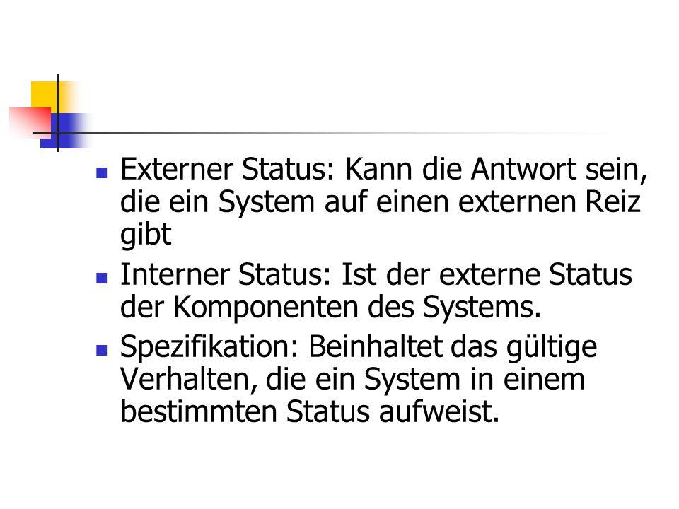 Externer Status: Kann die Antwort sein, die ein System auf einen externen Reiz gibt Interner Status: Ist der externe Status der Komponenten des System