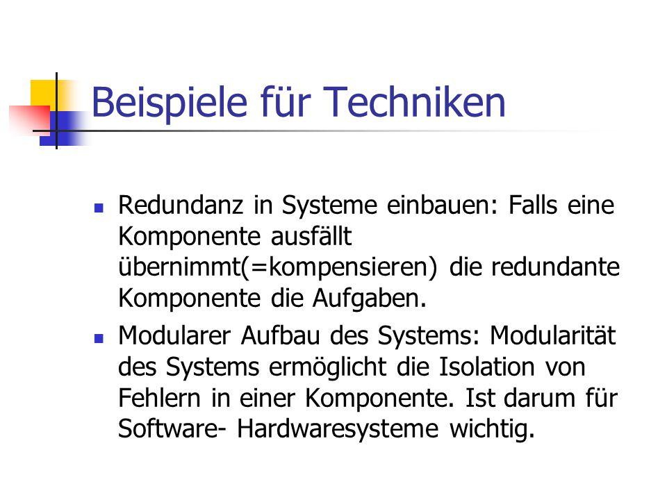 Beispiele für Techniken Redundanz in Systeme einbauen: Falls eine Komponente ausfällt übernimmt(=kompensieren) die redundante Komponente die Aufgaben.