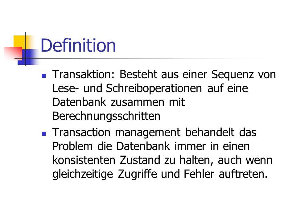 Definition Transaktion: Besteht aus einer Sequenz von Lese- und Schreiboperationen auf eine Datenbank zusammen mit Berechnungsschritten Transaction ma