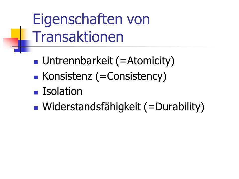 Eigenschaften von Transaktionen Untrennbarkeit (=Atomicity) Konsistenz (=Consistency) Isolation Widerstandsfähigkeit (=Durability)