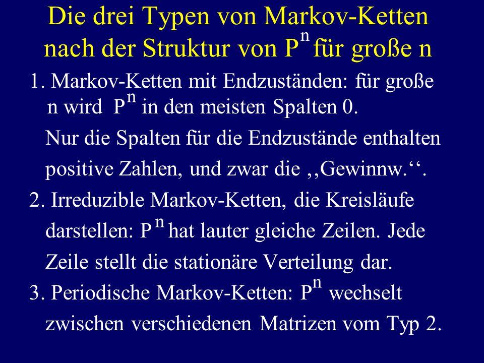 Die drei Typen von Markov-Ketten nach der Struktur von P für große n 1.