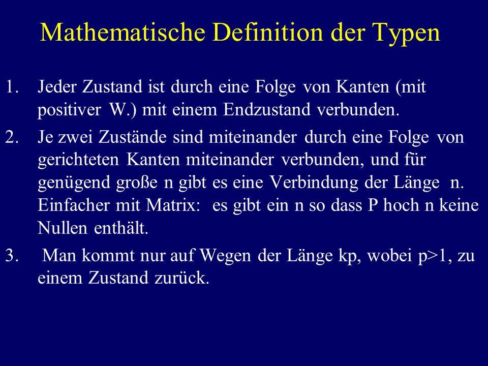 Mathematische Definition der Typen 1.Jeder Zustand ist durch eine Folge von Kanten (mit positiver W.) mit einem Endzustand verbunden.