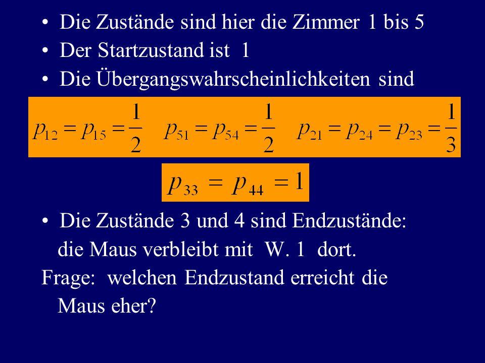 Die Zustände sind hier die Zimmer 1 bis 5 Der Startzustand ist 1 Die Übergangswahrscheinlichkeiten sind Die Zustände 3 und 4 sind Endzustände: die Maus verbleibt mit W.