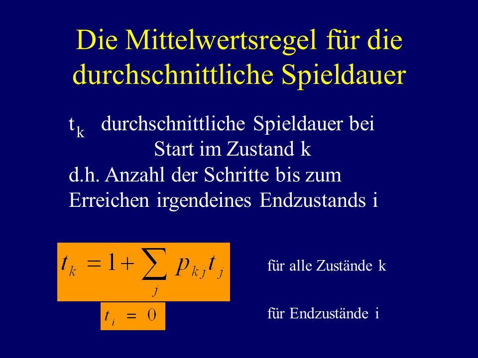 Die Mittelwertsregel für die durchschnittliche Spieldauer t durchschnittliche Spieldauer bei Start im Zustand k d.h.