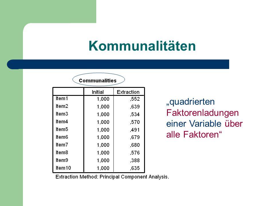 """Kommunalitäten """"quadrierten Faktorenladungen einer Variable über alle Faktoren"""""""