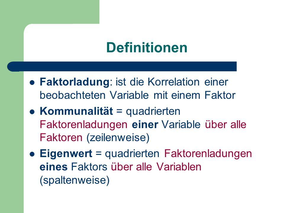 Definitionen Faktorladung: ist die Korrelation einer beobachteten Variable mit einem Faktor Kommunalität = quadrierten Faktorenladungen einer Variable