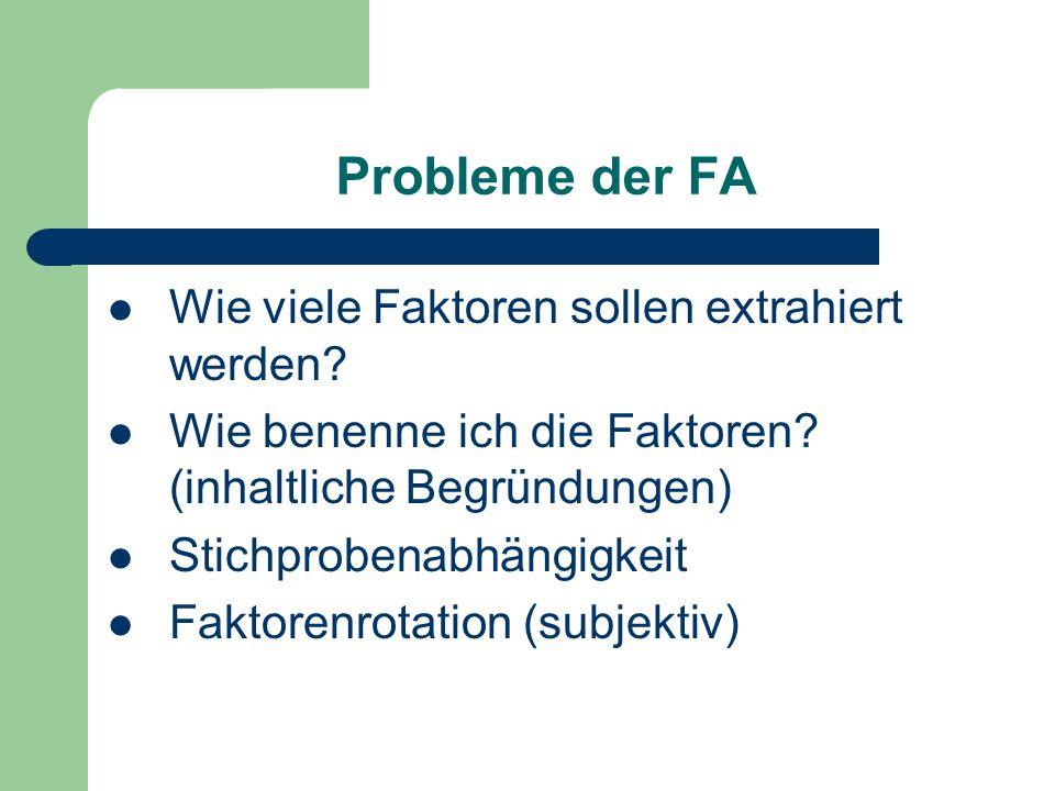 Probleme der FA Wie viele Faktoren sollen extrahiert werden? Wie benenne ich die Faktoren? (inhaltliche Begründungen) Stichprobenabhängigkeit Faktoren