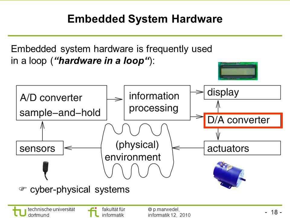 - 18 - technische universität dortmund fakultät für informatik  p.marwedel, informatik 12, 2010 Embedded System Hardware Embedded system hardware is frequently used in a loop ( hardware in a loop ):  cyber-physical systems