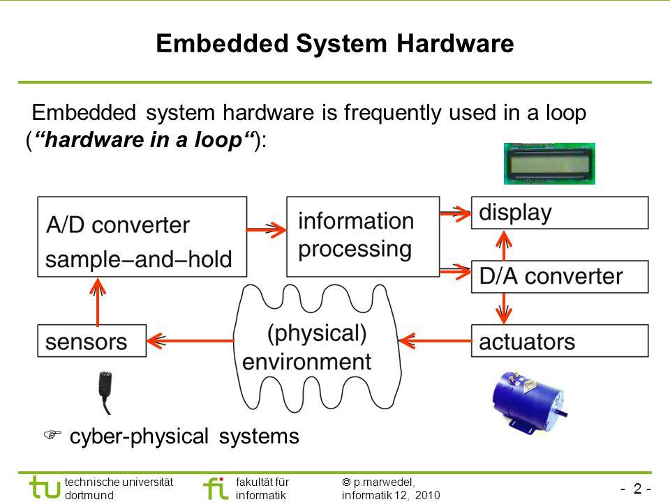 - 2 - technische universität dortmund fakultät für informatik  p.marwedel, informatik 12, 2010 Embedded System Hardware Embedded system hardware is frequently used in a loop ( hardware in a loop ):  cyber-physical systems