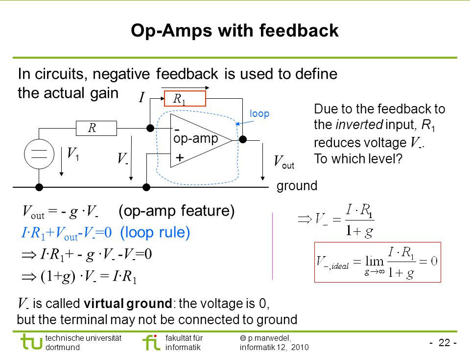 - 22 - technische universität dortmund fakultät für informatik  p.marwedel, informatik 12, 2010 Op-Amps with feedback V out = - g ∙V - (op-amp feature) I∙R 1 +V out -V - =0 (loop rule)  I∙R 1 + - g ∙V - -V - =0  (1+g) ∙V - = I∙R 1 In circuits, negative feedback is used to define the actual gain - + V out V-V- op-amp ground V1V1 R1R1 R Due to the feedback to the inverted input, R 1 reduces voltage V -.