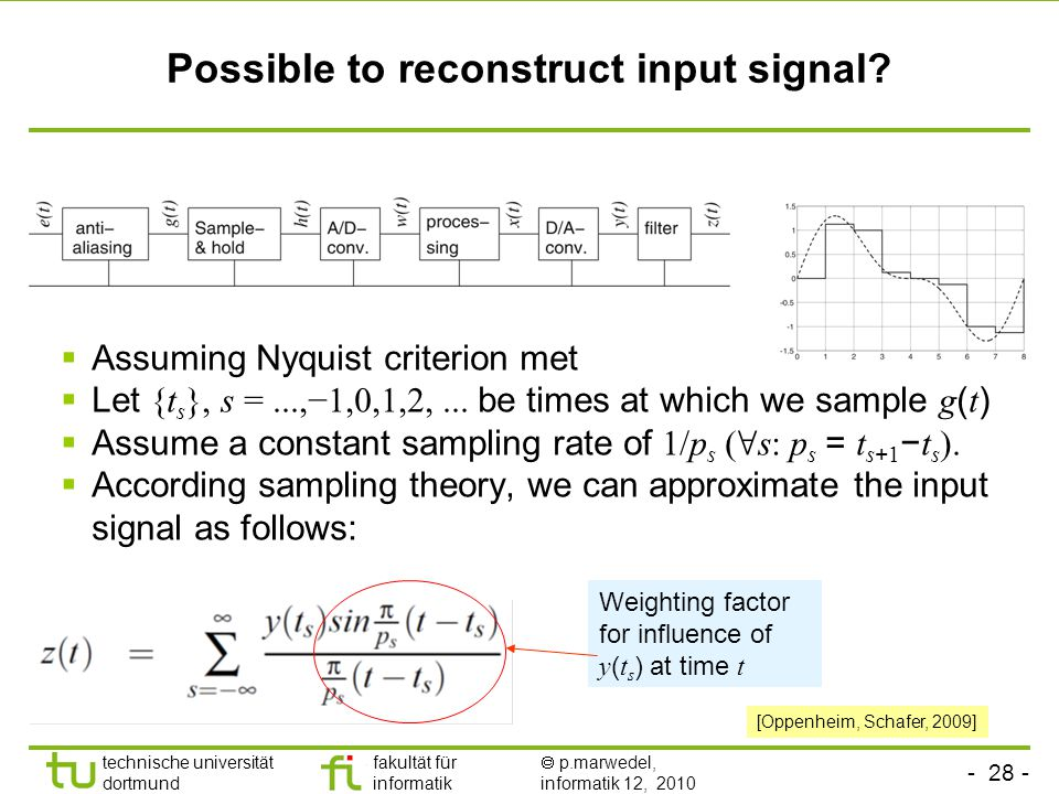 - 28 - technische universität dortmund fakultät für informatik  p.marwedel, informatik 12, 2010 Possible to reconstruct input signal?  Assuming Nyqu