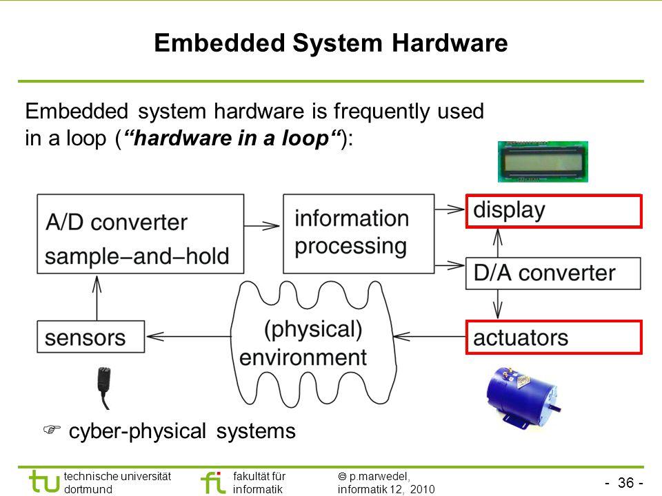- 36 - technische universität dortmund fakultät für informatik  p.marwedel, informatik 12, 2010 Embedded System Hardware Embedded system hardware is frequently used in a loop ( hardware in a loop ):  cyber-physical systems