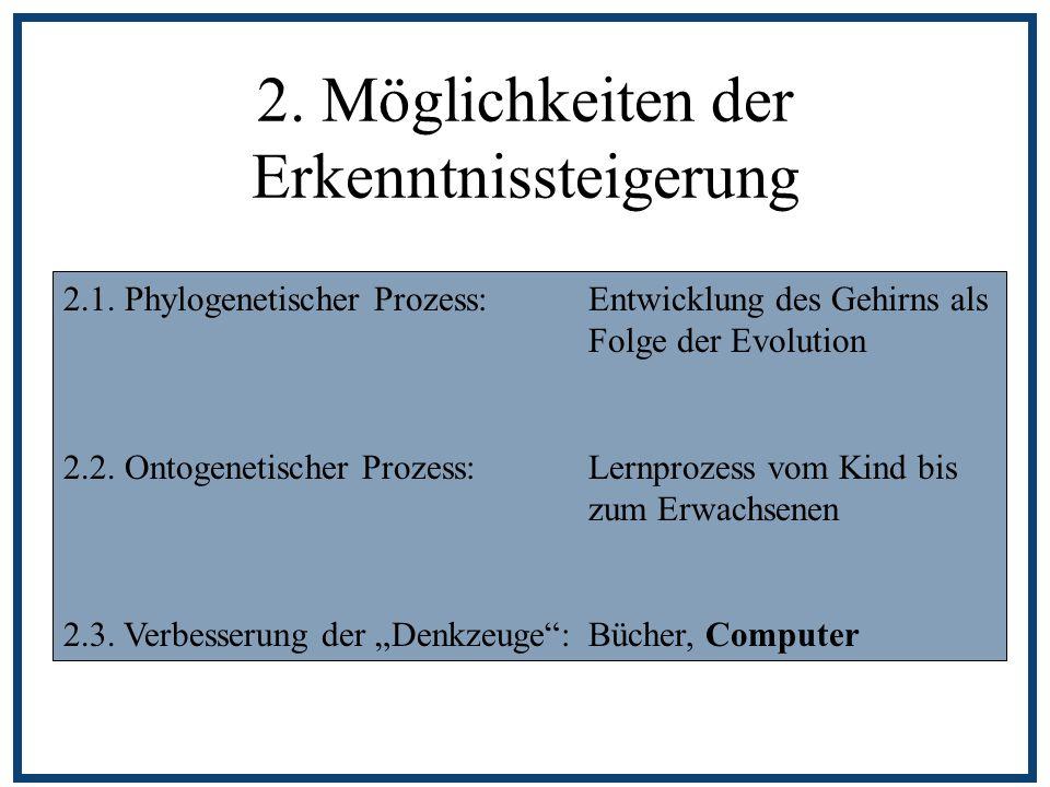 2. Möglichkeiten der Erkenntnissteigerung 2.1. Phylogenetischer Prozess: Entwicklung des Gehirns als Folge der Evolution 2.2. Ontogenetischer Prozess: