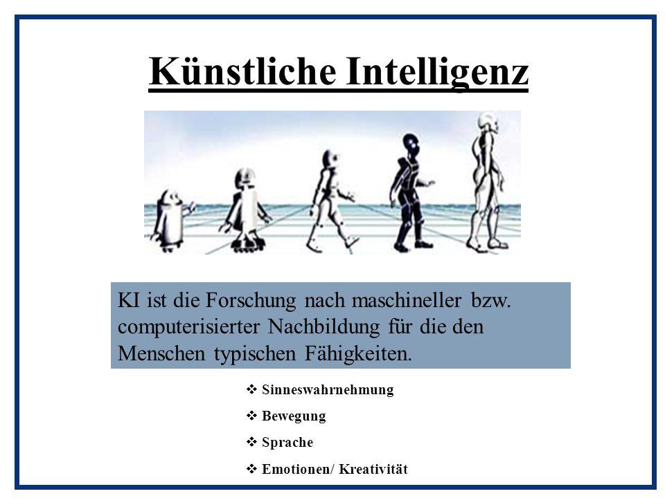 Künstliche Intelligenz KI ist die Forschung nach maschineller bzw. computerisierter Nachbildung für die den Menschen typischen Fähigkeiten.  Sinneswa