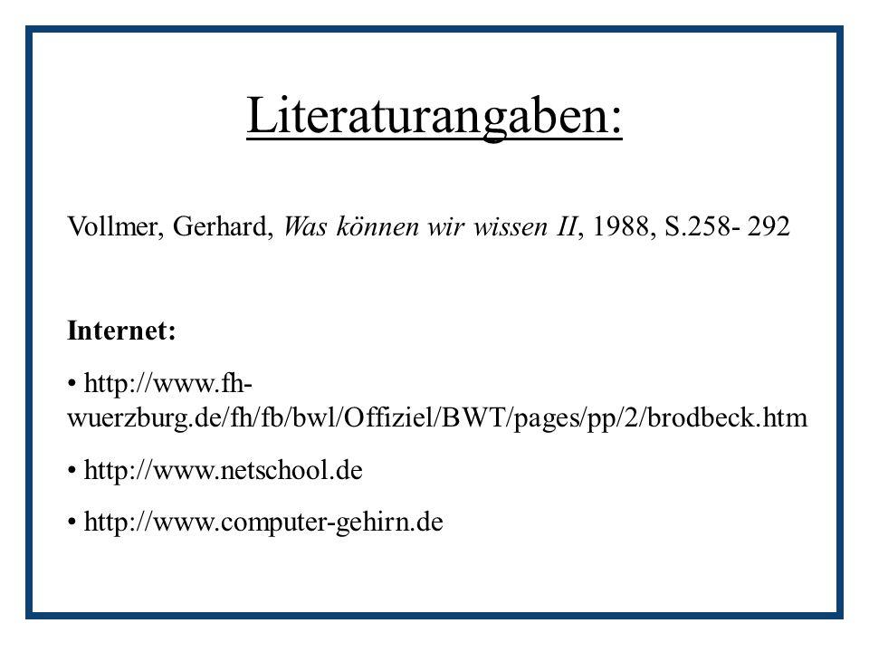 Literaturangaben: Vollmer, Gerhard, Was können wir wissen II, 1988, S.258- 292 Internet: http://www.fh- wuerzburg.de/fh/fb/bwl/Offiziel/BWT/pages/pp/2