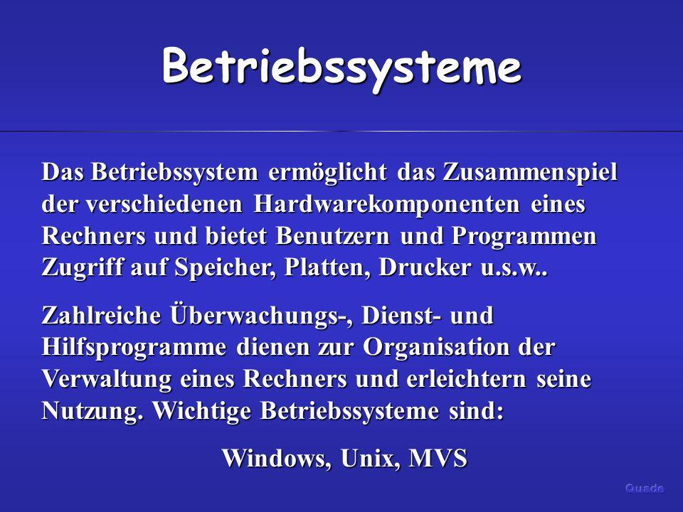Betriebssysteme Das Betriebssystem ermöglicht das Zusammenspiel der verschiedenen Hardwarekomponenten eines Rechners und bietet Benutzern und Programmen Zugriff auf Speicher, Platten, Drucker u.s.w..