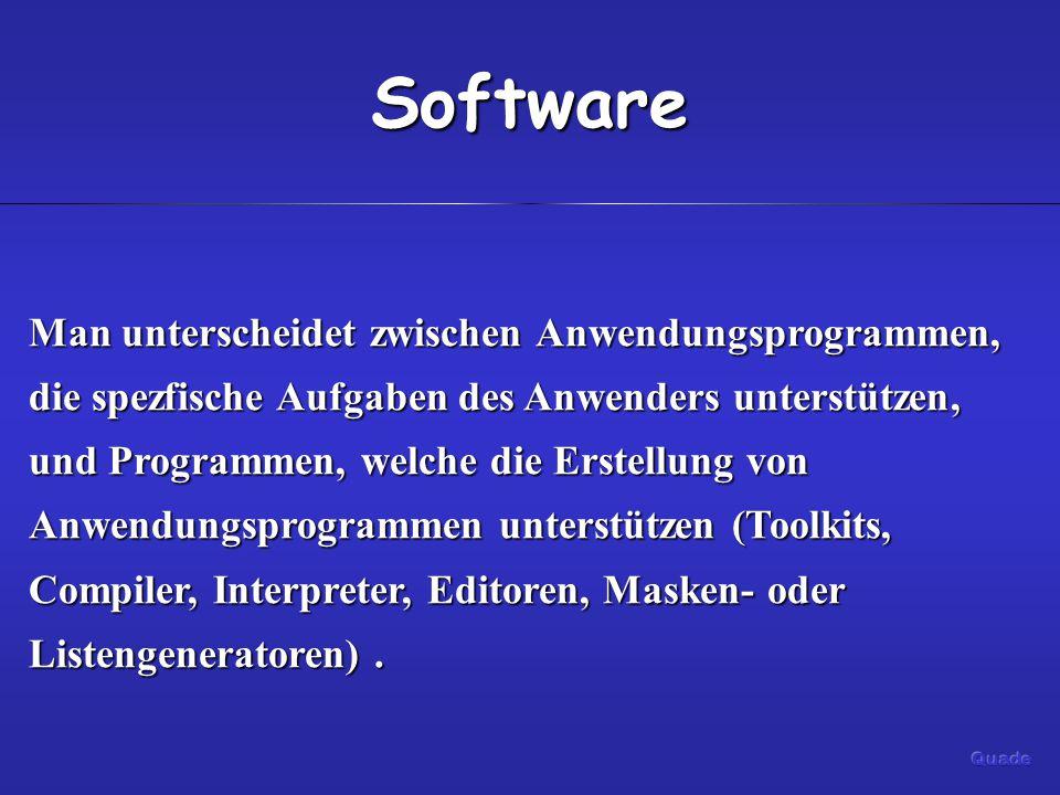 Software Man unterscheidet zwischen Anwendungsprogrammen, die spezfische Aufgaben des Anwenders unterstützen, und Programmen, welche die Erstellung von Anwendungsprogrammen unterstützen (Toolkits, Compiler, Interpreter, Editoren, Masken- oder Listengeneratoren).