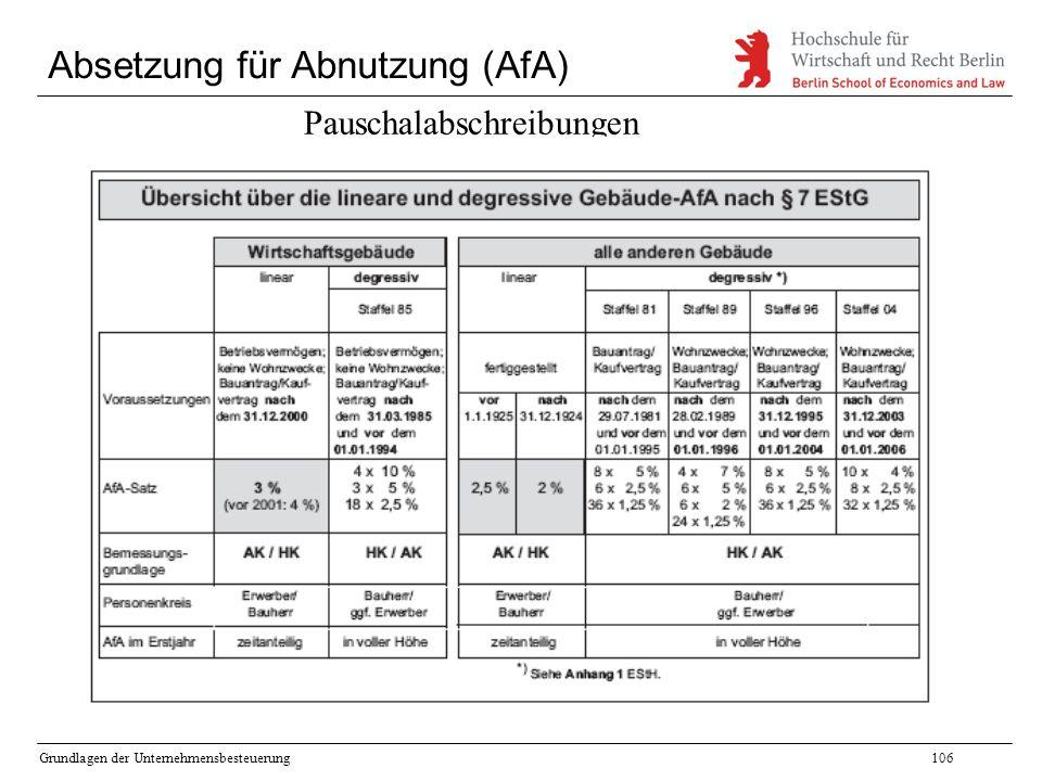 Grundlagen der Unternehmensbesteuerung106 Absetzung für Abnutzung (AfA) Pauschalabschreibungen