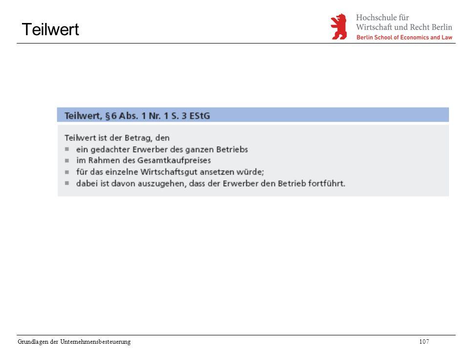Grundlagen der Unternehmensbesteuerung107 Teilwert