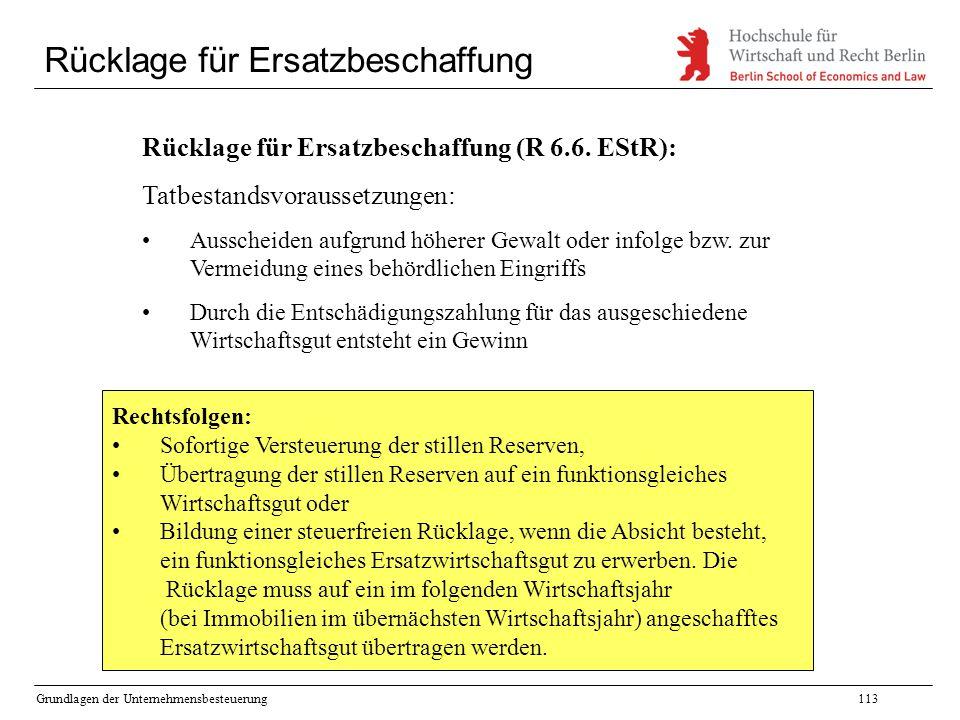 Grundlagen der Unternehmensbesteuerung113 Rücklage für Ersatzbeschaffung Rücklage für Ersatzbeschaffung (R 6.6. EStR): Tatbestandsvoraussetzungen: Aus