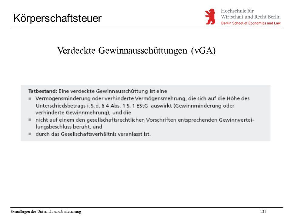 Grundlagen der Unternehmensbesteuerung135 Körperschaftsteuer Verdeckte Gewinnausschüttungen (vGA)