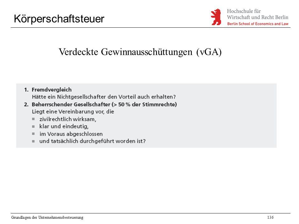 Grundlagen der Unternehmensbesteuerung136 Körperschaftsteuer Verdeckte Gewinnausschüttungen (vGA)