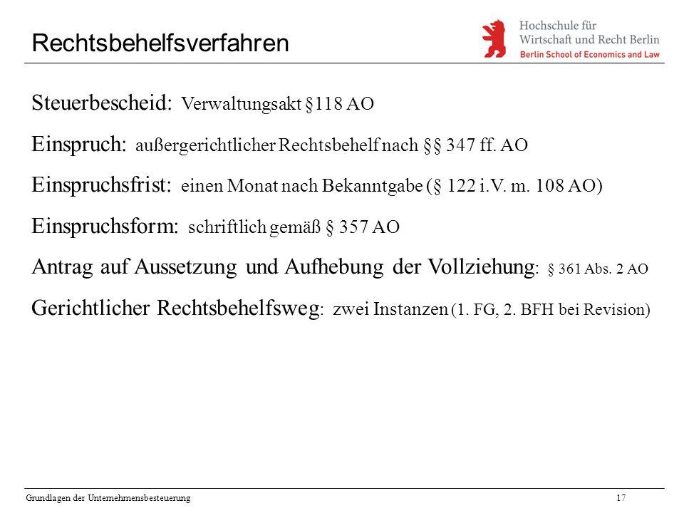Grundlagen der Unternehmensbesteuerung17 Rechtsbehelfsverfahren Steuerbescheid: Verwaltungsakt §118 AO Einspruch: außergerichtlicher Rechtsbehelf nach