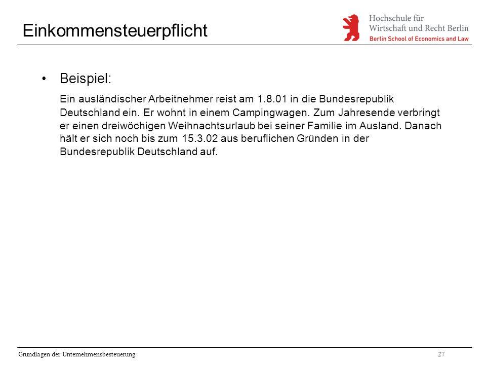 Grundlagen der Unternehmensbesteuerung27 Einkommensteuerpflicht Beispiel: Ein ausländischer Arbeitnehmer reist am 1.8.01 in die Bundesrepublik Deutsch