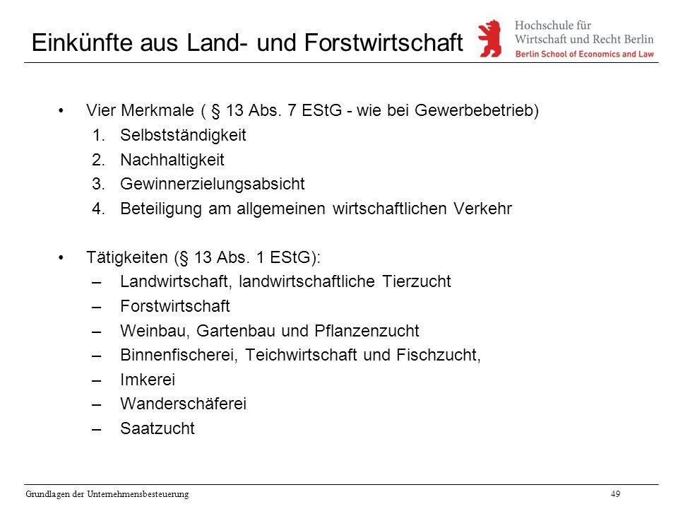 Grundlagen der Unternehmensbesteuerung49 Einkünfte aus Land- und Forstwirtschaft Vier Merkmale ( § 13 Abs. 7 EStG - wie bei Gewerbebetrieb) 1.Selbstst