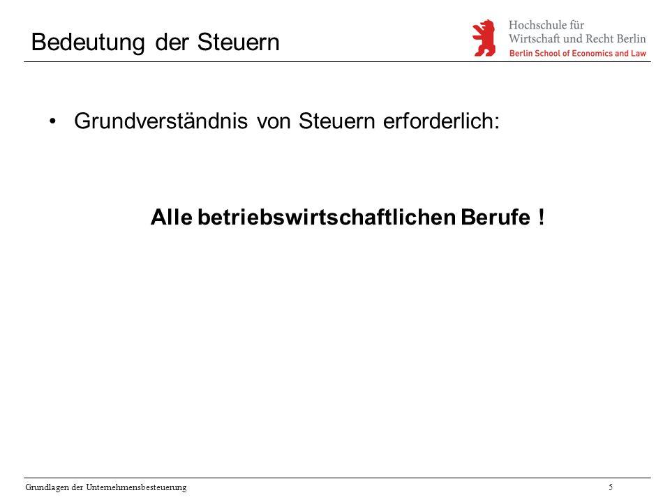 Grundlagen der Unternehmensbesteuerung5 Bedeutung der Steuern Grundverständnis von Steuern erforderlich: Alle betriebswirtschaftlichen Berufe !