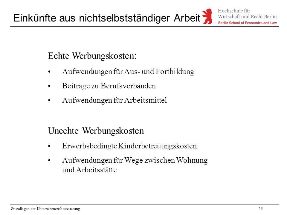 Grundlagen der Unternehmensbesteuerung56 Einkünfte aus nichtselbstständiger Arbeit Echte Werbungskosten : Aufwendungen für Aus- und Fortbildung Beiträ