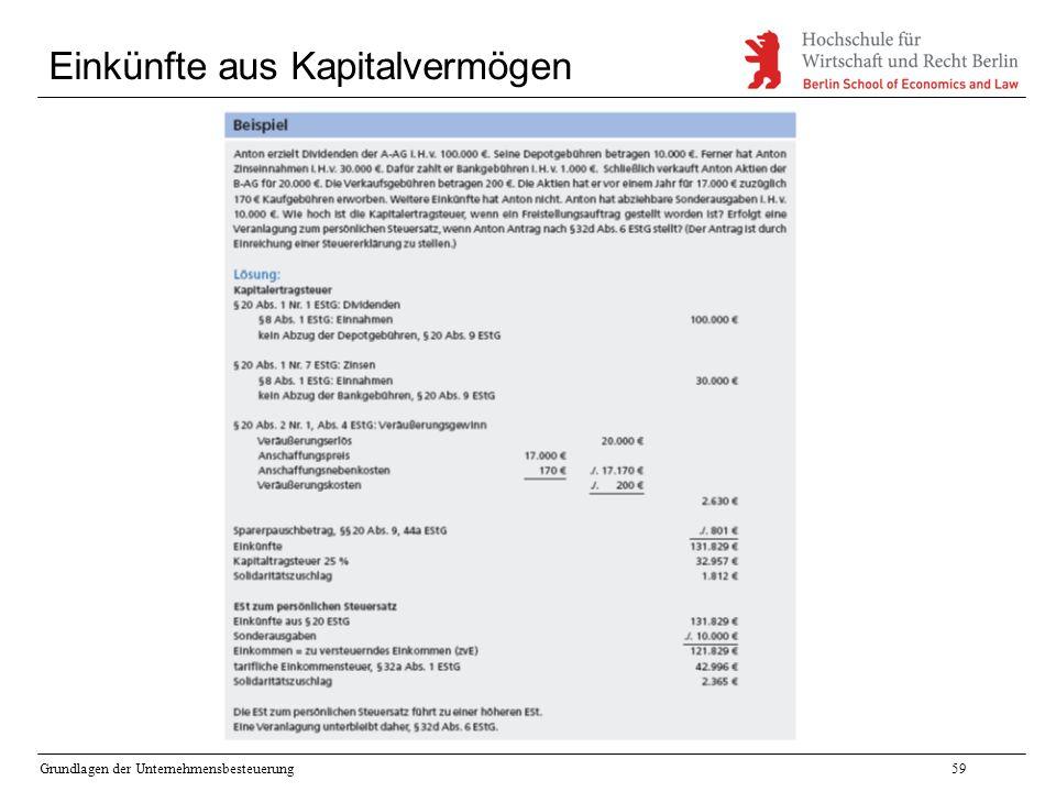 Grundlagen der Unternehmensbesteuerung59 Einkünfte aus Kapitalvermögen