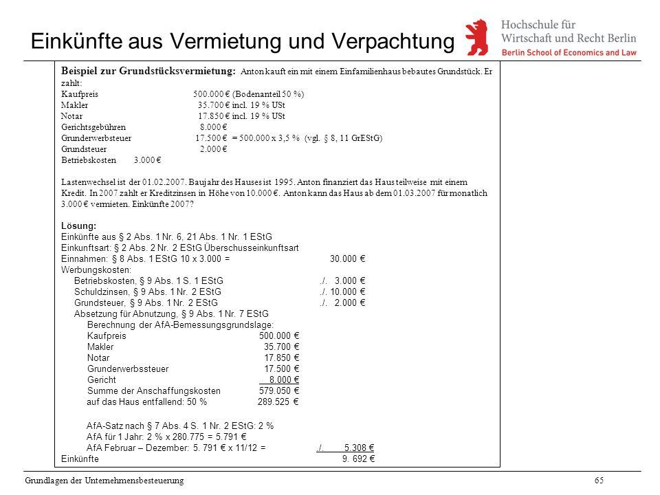 Grundlagen der Unternehmensbesteuerung65 Einkünfte aus Vermietung und Verpachtung Beispiel zur Grundstücksvermietung: Anton kauft ein mit einem Einfam