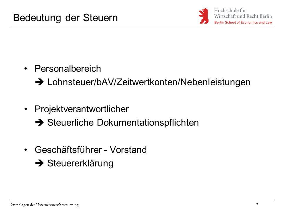 Grundlagen der Unternehmensbesteuerung7 Bedeutung der Steuern Personalbereich  Lohnsteuer/bAV/Zeitwertkonten/Nebenleistungen Projektverantwortlicher