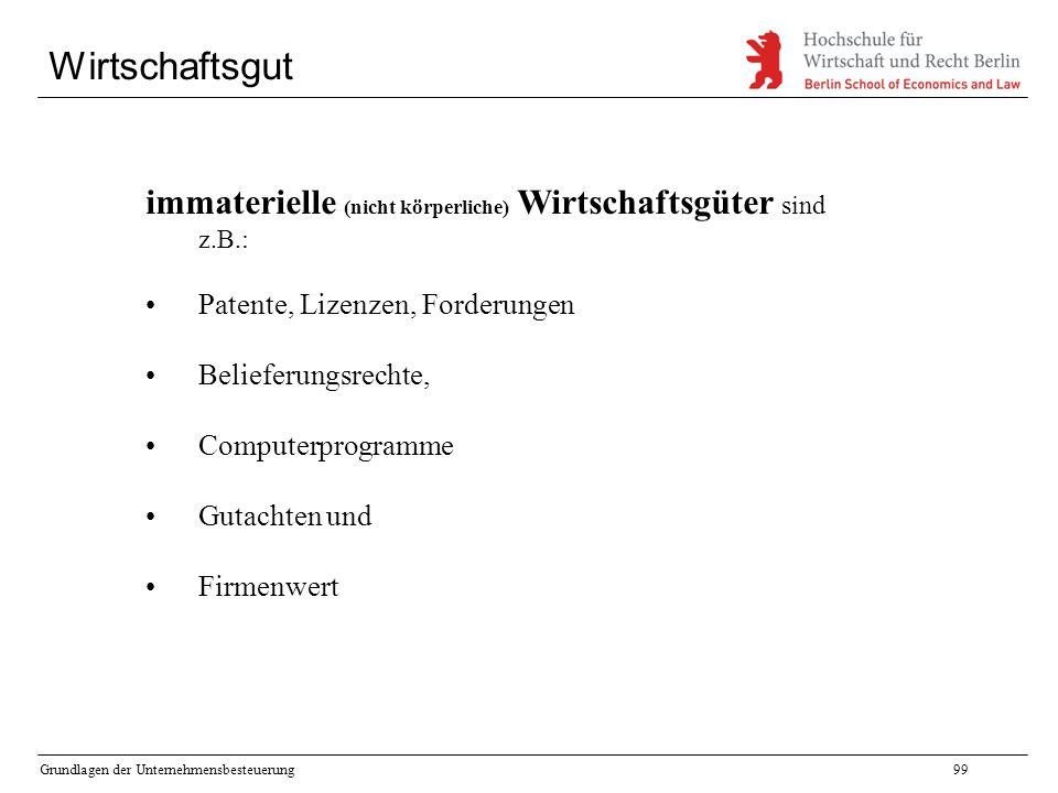 Grundlagen der Unternehmensbesteuerung99 Wirtschaftsgut immaterielle (nicht körperliche) Wirtschaftsgüter sind z.B.: Patente, Lizenzen, Forderungen Be