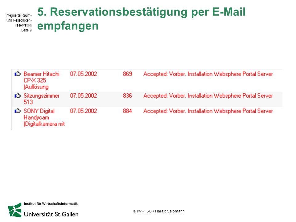 Integrierte Raum- und Ressourcen- reservation Seite 9 © IWI-HSG / Harald Salomann 5. Reservationsbestätigung per E-Mail empfangen