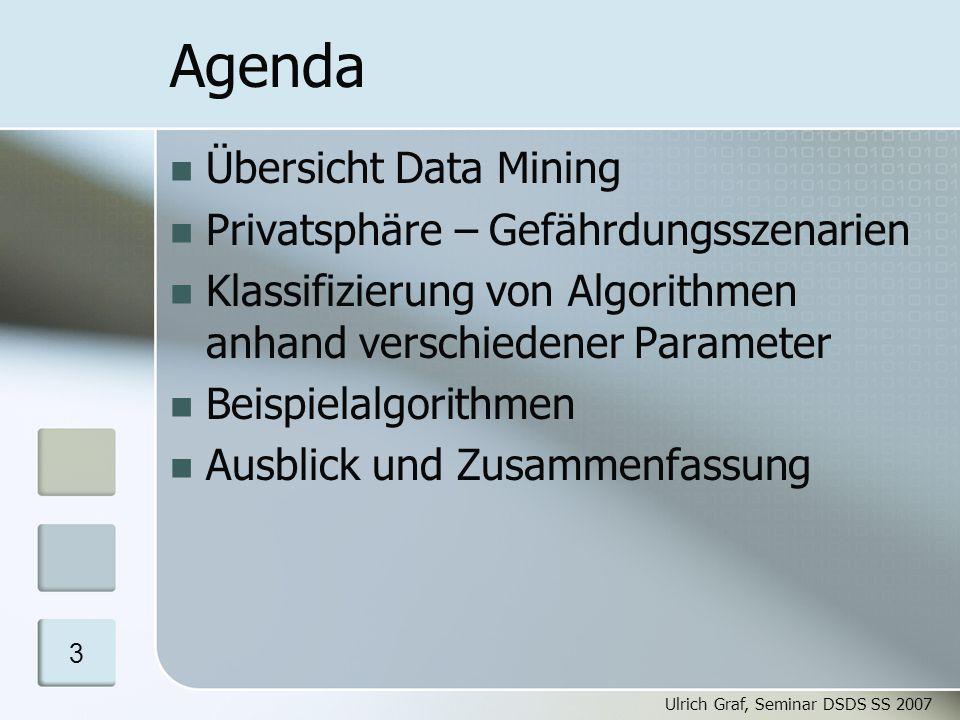 "Ulrich Graf, Seminar DSDS SS 2007 4 Data Mining ""We´re drowning in information and starving for knowledge. Data Mining = ""Knowledge Mining: Finden von interessanten Mustern in großen Datenbeständen Motivation Data Mining Privatsphäre Parameter Algorithmen Schluss"