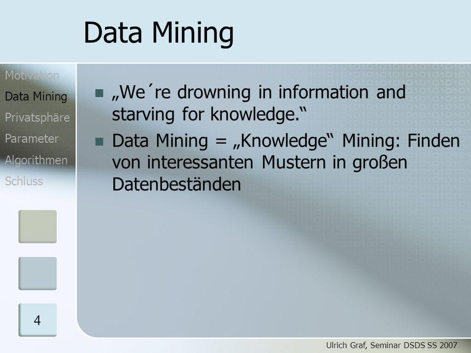 """Ulrich Graf, Seminar DSDS SS 2007 5 Data Mining – Techniken Clusteranalyse: gruppiere """"ähnliche Datensätze, z.B."""