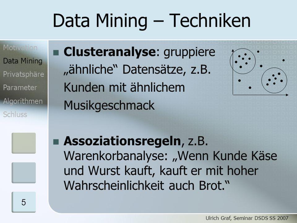 Ulrich Graf, Seminar DSDS SS 2007 16 SMC – Sichere Summe n = 20 Im F 20: 12-13 = 19 V = 18 V = 2 V = 10 s 2 = 4 s 1 = 5, R = 13 s 3 = 8 s 4 = 2 1 2 3 4 V = 12 Motivation Data Mining Privatsphäre Parameter Algorithmen Schluss