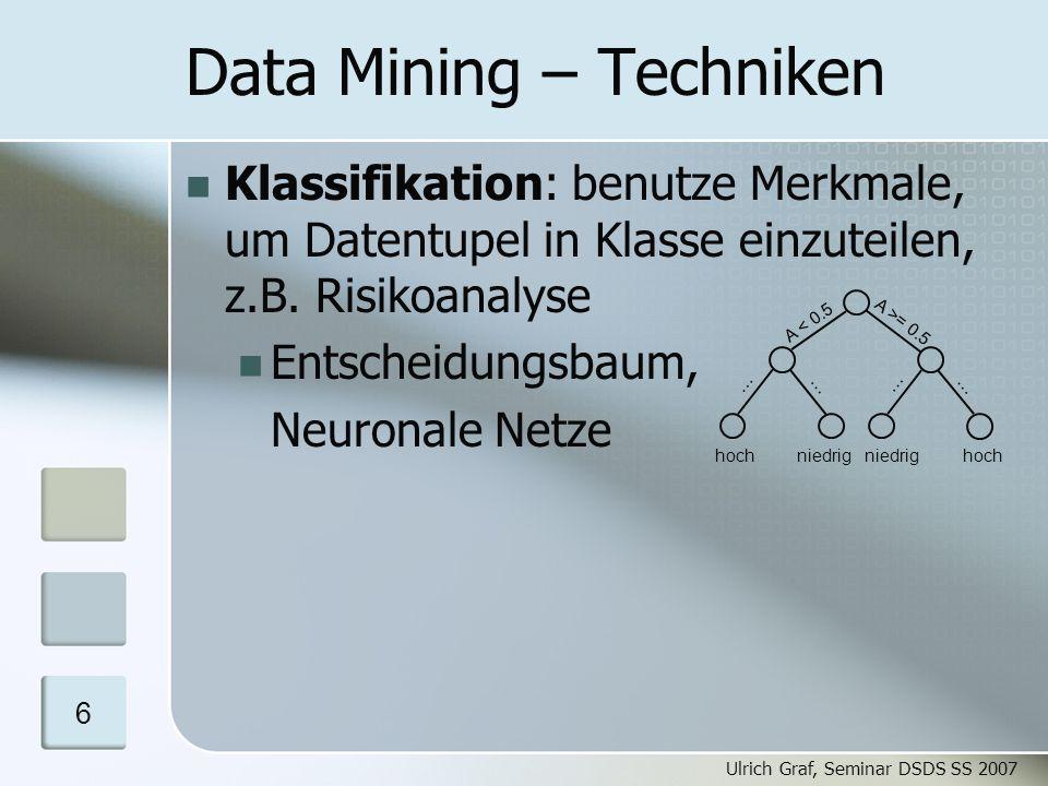 Ulrich Graf, Seminar DSDS SS 2007 7 Data Mining - Entscheidungsbaum Aufbau des Baums mit Trainingsdaten Binärbaum wird von der Wurzel ausgehend rekursiv aufgebaut: Falls Split notwendig: Ermittle Attribut A, das die Daten optimal nach Klassen trennt Bilde Partitionen P, P´, wiederhole Algorithmus für beide Partitionen Vermeidung von Überanpassung des Modells an Trainingsdaten: Pruning Zusammenfassen von Blättern mit wenigen Datensätzen Motivation Data Mining Privatsphäre Parameter Algorithmen Schluss A < 0.5 A >= 0.5 P P'