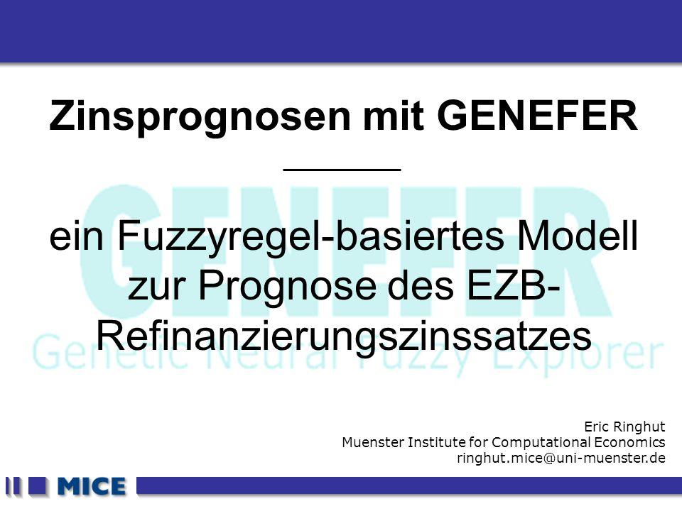 CEF 2001, New Haven Zinsprognosen mit GENEFER ein Fuzzyregel-basiertes Modell zur Prognose des EZB- Refinanzierungszinssatzes Eric Ringhut Muenster In