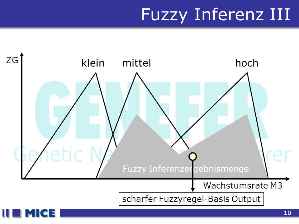CEF 2001, New Haven 10 Fuzzy Inferenz III Wachstumsrate M3 ZG kleinmittelhoch Fuzzy Inferenzergebnismenge scharfer Fuzzyregel-Basis Output