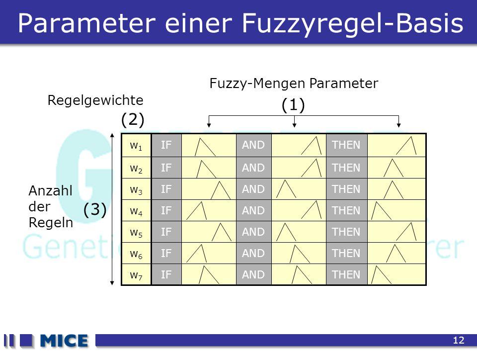 CEF 2001, New Haven 12 Parameter einer Fuzzyregel-Basis Fuzzy-Mengen Parameter (1) (2) Regelgewichte (3) Anzahl der Regeln