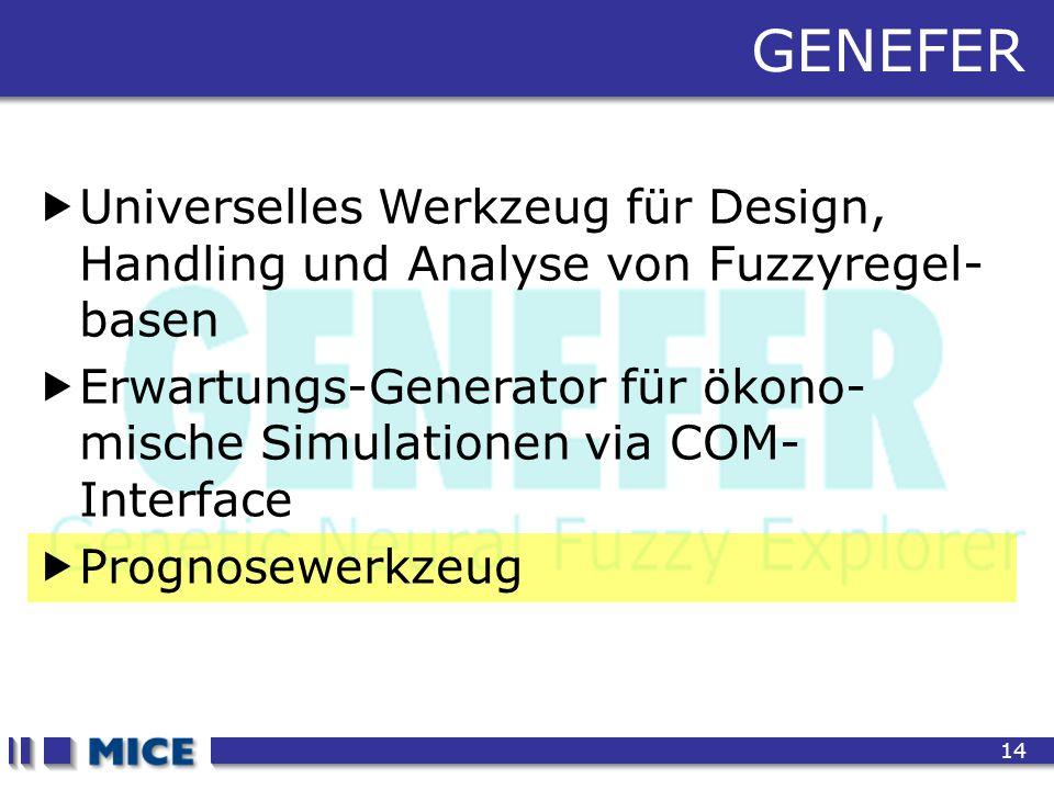 CEF 2001, New Haven 14 GENEFER  Universelles Werkzeug für Design, Handling und Analyse von Fuzzyregel- basen  Erwartungs-Generator für ökono- mische