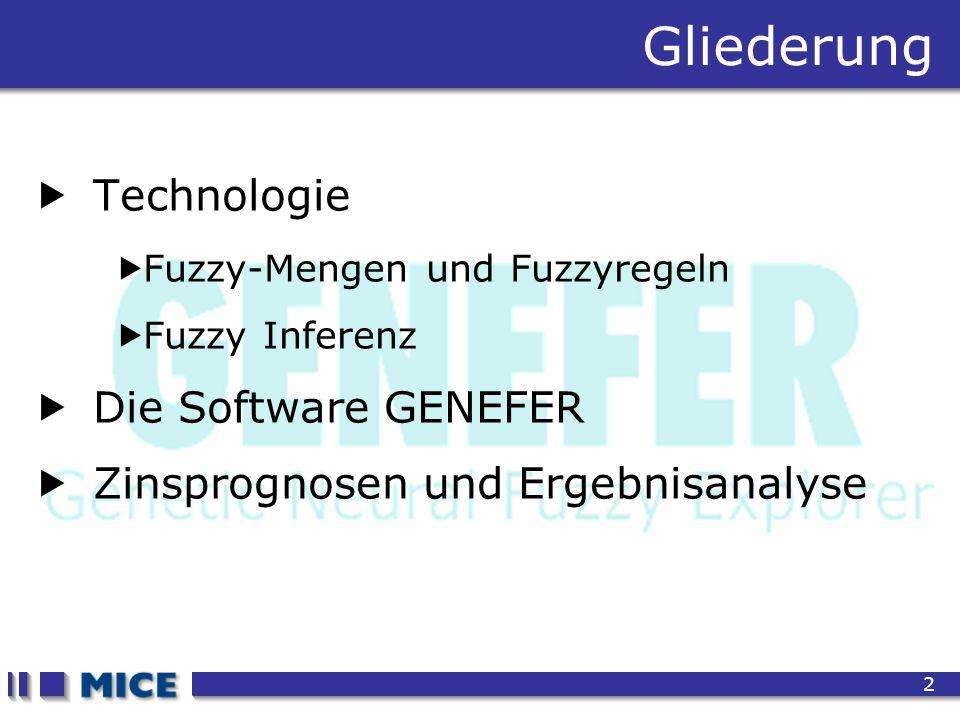 CEF 2001, New Haven 2 Gliederung  Technologie  Fuzzy-Mengen und Fuzzyregeln  Fuzzy Inferenz  Die Software GENEFER  Zinsprognosen und Ergebnisanal