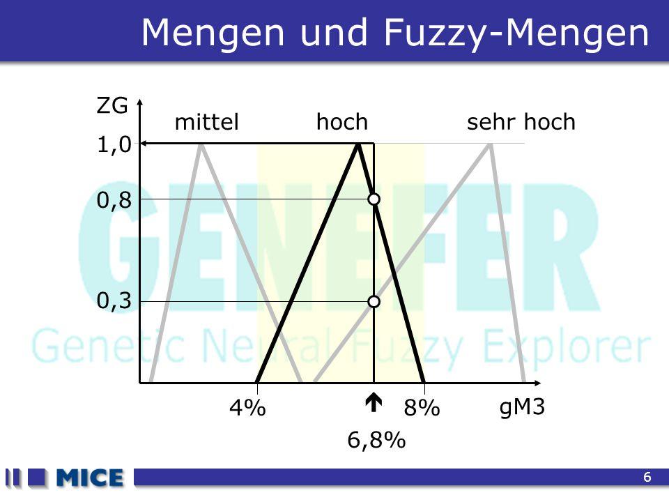 CEF 2001, New Haven 6 4%8% mittel sehr hoch Mengen und Fuzzy-Mengen gM3 ZG 1,0 hoch 0,8 0,3  6,8%