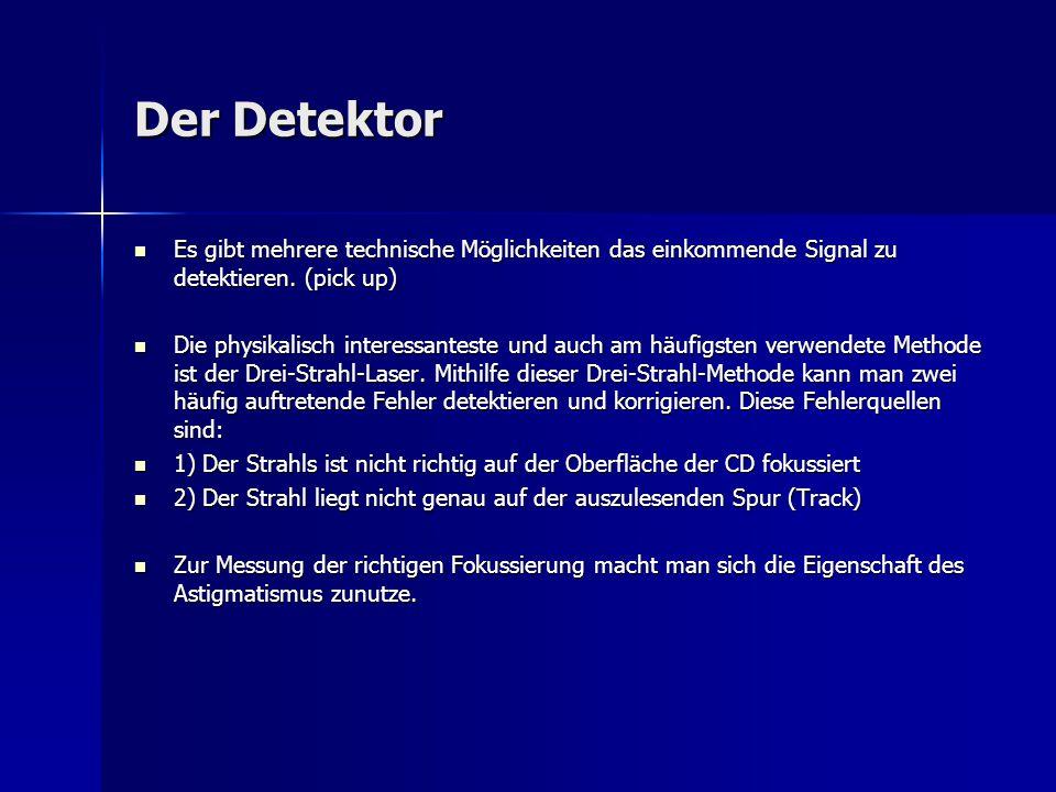 Der Detektor Es gibt mehrere technische Möglichkeiten das einkommende Signal zu detektieren. (pick up) Es gibt mehrere technische Möglichkeiten das ei