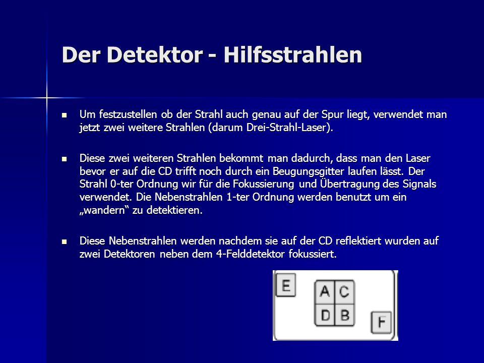 Der Detektor - Hilfsstrahlen Um festzustellen ob der Strahl auch genau auf der Spur liegt, verwendet man jetzt zwei weitere Strahlen (darum Drei-Strah