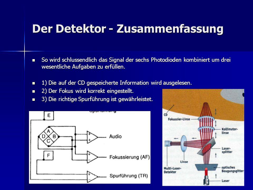 Der Detektor - Zusammenfassung So wird schlussendlich das Signal der sechs Photodioden kombiniert um drei wesentliche Aufgaben zu erfüllen. So wird sc