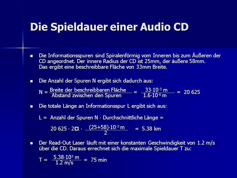 Die Spieldauer einer Audio CD Die Informationsspuren sind Spiralenförmig vom Inneren bis zum Äußeren der CD angeordnet. Der innere Radius der CD ist 2